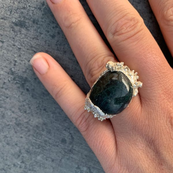 Libby Ward 'Large Fruticose ring with moss agate'